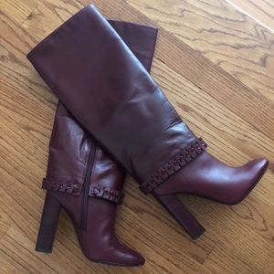 Tory Burch Sarava Leather Knee Boots, Red Agate